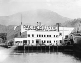 [Exterior view of Pacific Mills Paper-Pulp Ltd. buildings, Ocean Falls, B.C.]