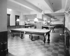 Interior view of billiards room in the Martin Hotel, Ocean Falls