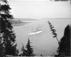 "[The C.P.R. Royal Mail steamship ""Empress of India"" passing through First Narrows at Pr..."