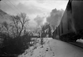 [Trains in winter along the Fraser River]