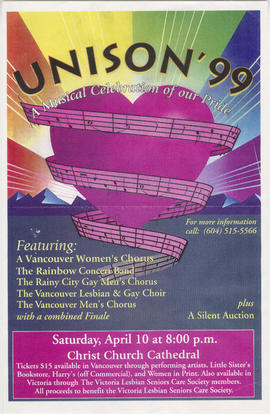 Unison '99 : a musical celebration of our pride : Saturday, April 10 : Christ Church Cathedral