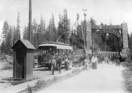 [Street car number 21 at the entrance to Stanley Park]