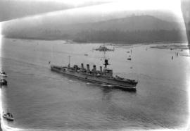"[H.M.S. ""Adelaide"" entering first narrows of Burrard Inlet]"
