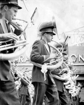 [Sousaphone players in the Grey Cup Parade]
