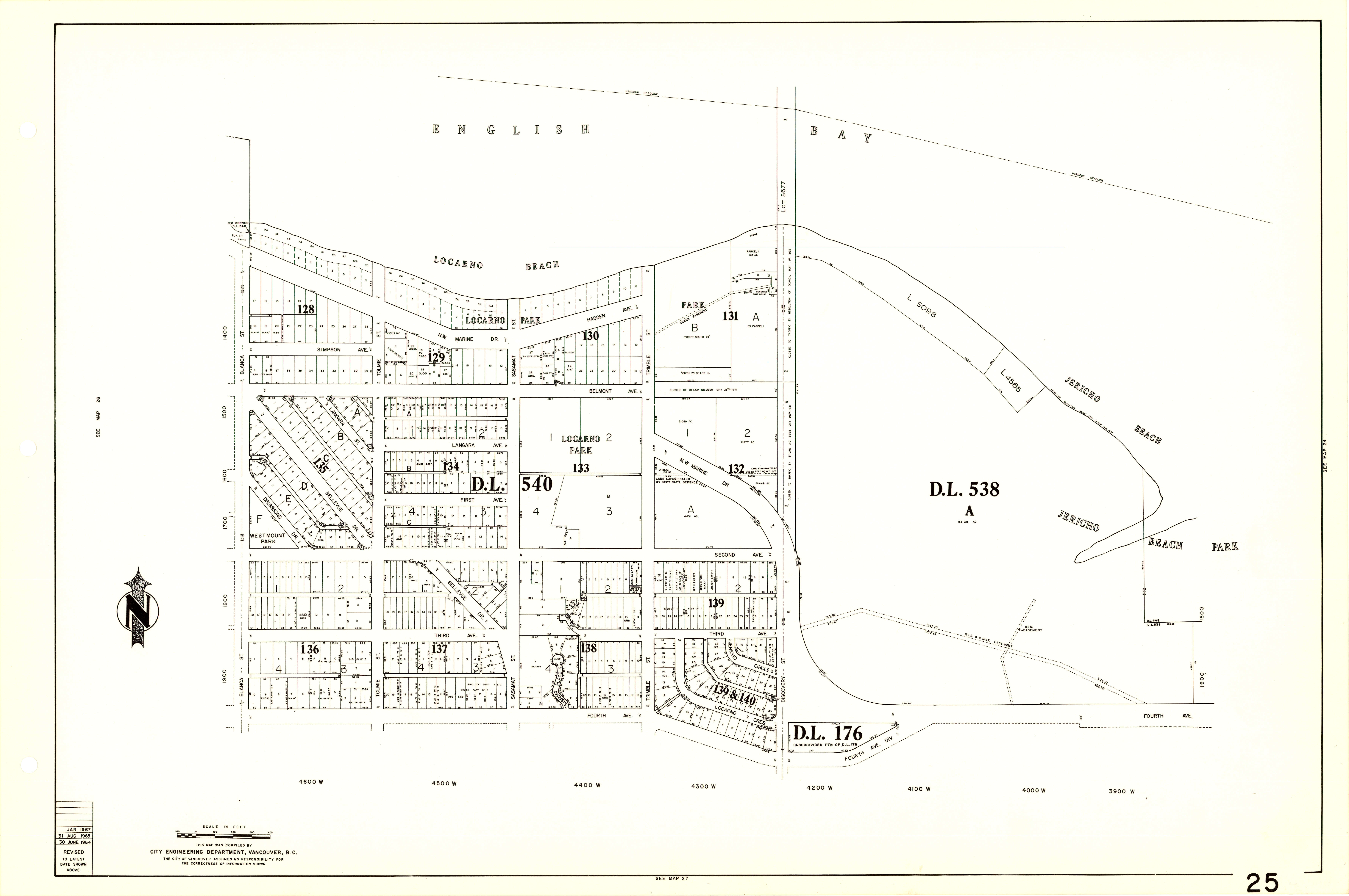 Sheet 25 Blanca Street to Jericho Beach and Fourth Avenue to