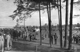 Crowds in Stanley Park during the visit of King George VI and Queen Elizabeth