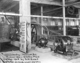 [Interior of] Pioneer [Steam] Laundry [showing the] Producer Gas-Electric Plant [- 904 Richards S...