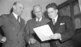 [Group portrait of Parks Board members] Don Brown, R. Rowe Holland and George Thompson]