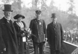 [Former Fire Chief J.H. Carlisle after receiving the King's Police Medal from His Honour W.C...