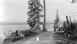 [Two women standing on dirt road at Brockton Point], Stanley Park, Vancouver, B.C.