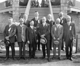[Group portrait of Reeve and Council members at opening of Memorial Park]