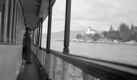 "[View of Point Atkinson Lighthouse from the deck of the S.S. ""Bowena""]"