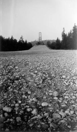 [View of the Lions Gate (First Narrows) Bridge under construction]
