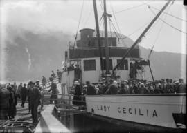 "Passengers disembarking from the ship ""Lady Cecilia"""