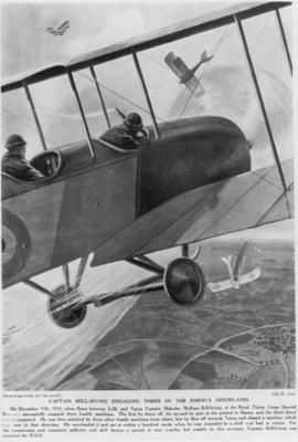 Captain Bell-Irving engaging three of the enemy's aeroplanes