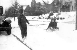 Off for sleigh ride, Winter 1935