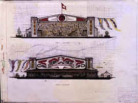 North and south elevation of Hangar 5 with mural and flags