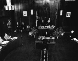 [Superintendent Henry A. Larson and His Worship Fred J. Hume in the Council Chamber]