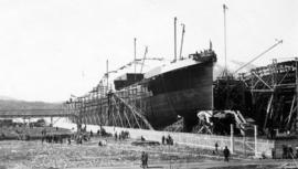"Launching of ""Canadian Scottish"" [Canadian government steamship]"