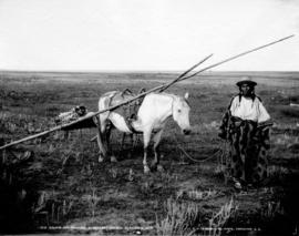 [Indigenous woman, baby and horse] Gleichen, N.W.T.