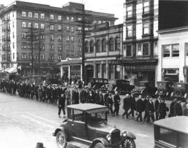 [Chinese funeral procession on West Pender Street near Abbott]