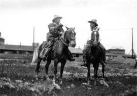 [Mayor Ambrose Bury of Edmonton on horseback with former Edmonton mayor Kenneth Blatchford]