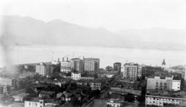 [Looking towards] Burrard Inlet and the Vancouver Business District. Taken from roof garden of Va...