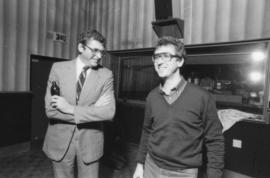 Michael Francis and unidentified man in recording studio at Griffiths Gibson Productions
