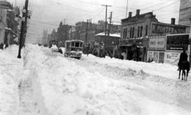 Douglas Street looking south from Pandora Street, Victoria, B.C., B.C. Electric snow plow and rot...