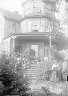 [Young women with bicycles at front steps of Mayor Fred Cope residence, 1100 Haro Street]