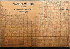 Vancouver, B.C. Plan showing location of water pipes, hydrants, etc. [Victoria Drive to First Ave...