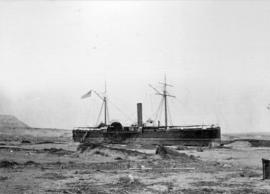 "U.S. Ship ""Wateres"", washed up at Arica, South Amerin, by the tidal wave of Sugust 1868"