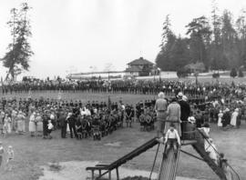 [View of Boy Scouts and Cubs at a rally at Ceperly playground for the visit of Governor General L...