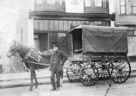[Dominion Express Company horse-drawn delivery wagon]