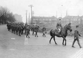 [158th Overseas Battalion on parade at Cambie Street Grounds near Beatty Street and Georgia Street]