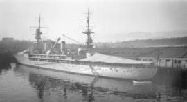 Jeanne D'Arc [French naval ship at dock]