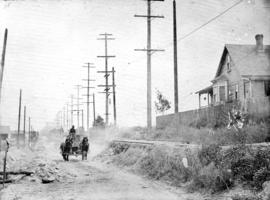 [Horse and cart travelling along] 34th Avenue [now 33rd Ave.] before paving