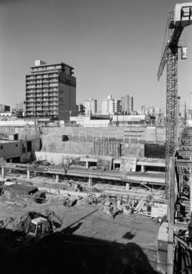Construction site of the Provincial Court House complex at corner of Robson and Hornby Streets