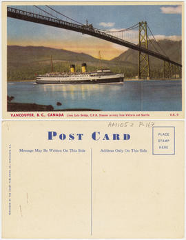 Lions Gate Bridge, C.P.R. steamer arriving from Victoria and Seattle