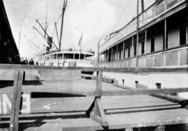 "[Partial side view of the S.S. ""Charmer""]"