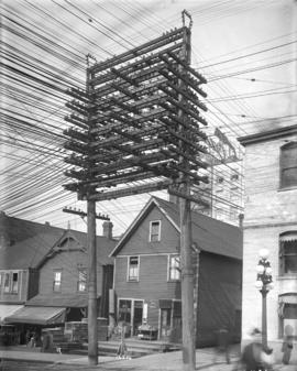 [Power lines and supporting structure in lane west of Main Street at Pender Street]