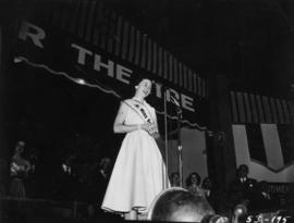 Miss P.N.E., Lynn Adcock, on Outdoor Theatre stage