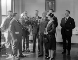 City Hall - Mayor Malkin receiving roses [at] Presentation of Portland Roses