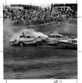 Demolition derby in Outdoor Bowl on P.N.E. grounds