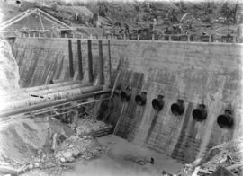 [Wooden penstocks leading to partially constructed gate house for Buntzen Lake Power Plant number...