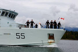 Canadian DOD Navy with a cauldron on deck the Orca in Vancouver, BC