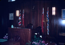 Council Chambers, the flags