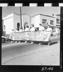 Seattle All-City High School Band banner in 1957 P.N.E. Opening Day Parade