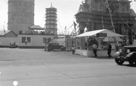 [Chinese pagoda and arch erected at Carrall and Pender Streets for Vancouver Golden Jubilee celeb...