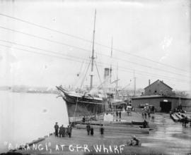 "[The ship ""Aorangi"" docked at C.P.R. wharf]"
